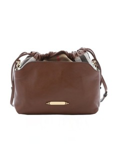 Burberry brown calfskin and house check canvas 'Little Crush' shoulder bag
