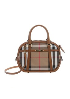Burberry brown house check canvas small 'Orchard' convertible satchel