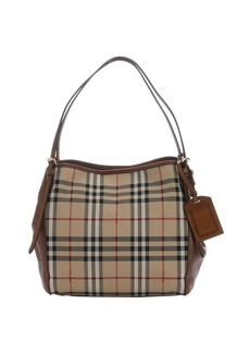 Burberry brown leather and honey haymarket check nylon small 'Canterbury' tote