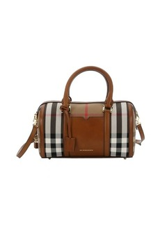 Burberry brown leather and house check canvas medium 'Alchester' convertible bowling bag