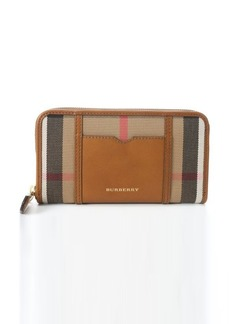 Burberry brown leather and nova check canvas 'Large Ziggy' continental wallet