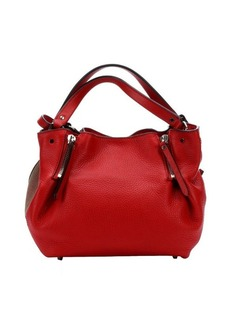 Burberry cadmiun red leather and check canvas 'Maidstone' zip convertible small tote bag