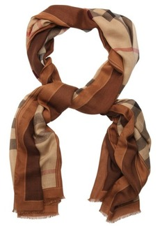 Burberry camel check and belt print woven scarf