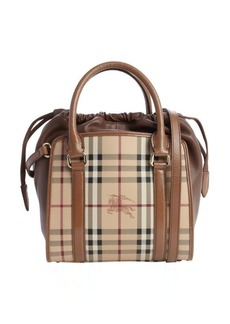 Burberry camel leather nova check coated canvas drawstring convertible shoulder bag