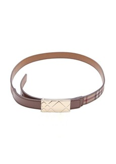 Burberry camel nova check and brown leather pin close reversible belt