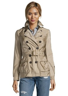 Burberry camel nylon double breasted 'Peasdale' short trench coat
