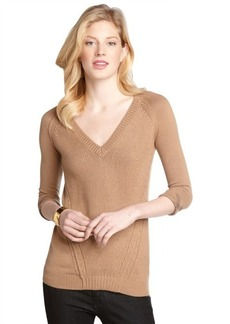 Burberry camel vneck cashmere blend sweater