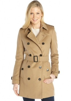 Burberry camel wool and cashmere double breasted belted trench coat