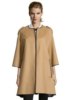 Burberry camel wool blend three-quarter sleeve cape