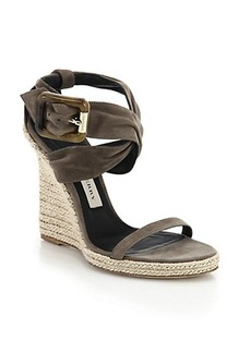 Burberry Catsbrook Suede Espadrille Wedge Sandals