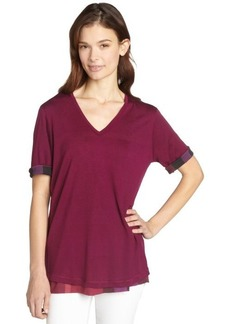 Burberry cerise short sleeve v-neck t-shirt