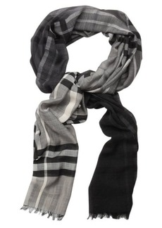 Burberry charcoal giant check print wool and silk woven frayed scarf