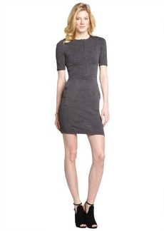 Burberry charcoal wool zip front sweater dress
