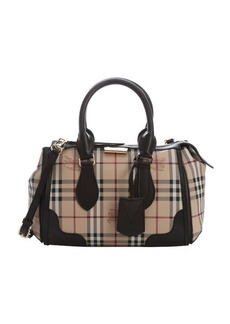 Burberry chocolate and honey haymarket check coated canvas 'Gladstone' small convertible tote