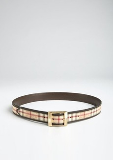 Burberry chocolate and nova check leather belt