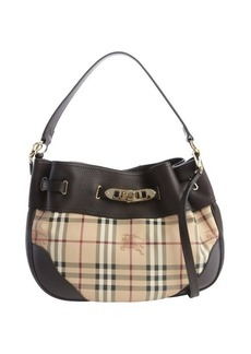 Burberry chocolate check leather top handle shoulder bag