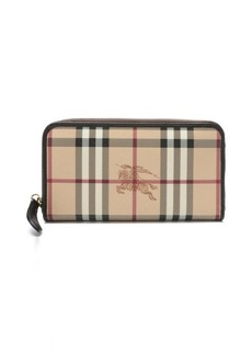 Burberry chocolate coated canvas and leather nova check continental wallet