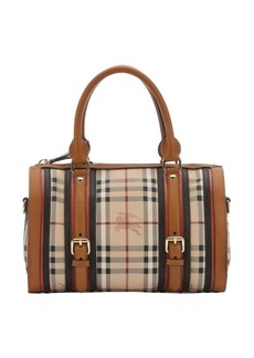 Burberry chocolate leather trimmed check canvas 'Alchester' medium bowling bag