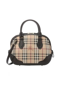 Burberry chocolate leather trimmed check canvas 'Orchard' small bowling bag