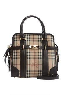 Burberry chocolate nova check coated canvas buckle detail convertible tote