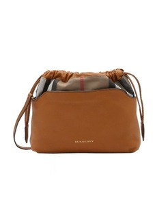 Burberry cognac calfskin and house check canvas 'Little Crush' convertible shoulder bag