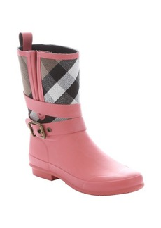 Burberry coral pink rubber and check print canvas pull-on rain boots