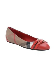 Burberry coral red and brown nova check leather and twill 'Avonwick' buckle detail flats