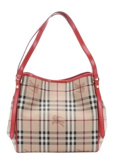 Burberry coral red and honey haymarket check coated canvas small 'Canterbury' tote