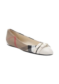 Burberry cream leather and nova check canvas 'Avonwick' ballet flats