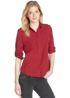 Burberry crimson cotton button front long sleeve shirt
