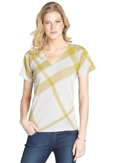 Burberry dandelion and grey stretch v-neck linen and cotton short sleeve shirt