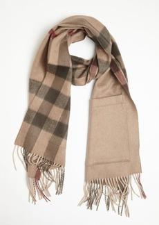 Burberry dark beige check cashmere-wool blend 'Helene' scarf