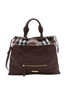Burberry dark brown calfskin and house check canvas 'Big Crush' convertible tote