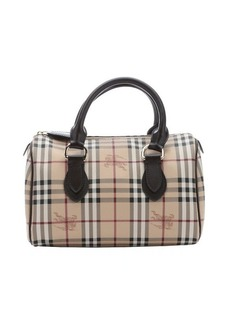 Burberry dark brown nova check 'Chester' coated canvas top handle tote