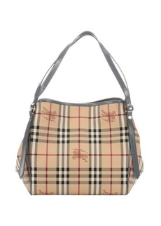 Burberry dark grey patent leather and nova check coated canvas 'Canterbury' small tote