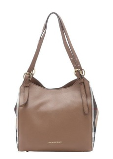 Burberry dark sand calfskin and house check canvas 'Canterbury' tote bag