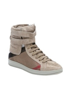 Burberry dark sand suede and check canvas 'Rushlake' hi-top sneakers