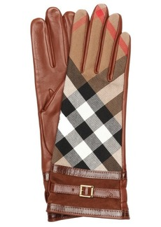 Burberry dark tan and black lambskin buckle cuff gloves
