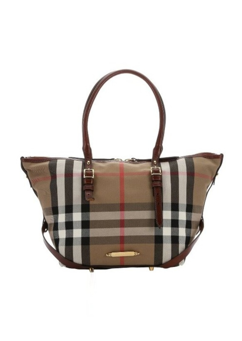 burberry burberry dark tan house check canvas 39 salisbury 39 small tote sizes all sizes shop it. Black Bedroom Furniture Sets. Home Design Ideas