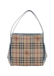 Burberry eucalyptus grey patent leather and tan haymarket check coated canvas small 'Canterbury' tote