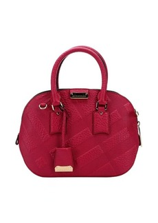 Burberry fuchsia leather top handle bag