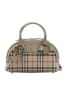 Burberry gold calfskin and honey nova check small 'Bloomsbury' convertible tote