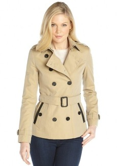 Burberry honey cotton leather trim double breasted belted short trench coat