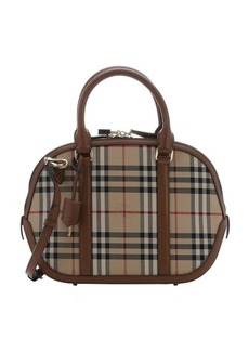 Burberry honey horseferry check nylon and leather small 'Orchard' convertible bowling bag