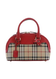 Burberry honey house check and parade red leather small 'Bloomsbury' convertible tote