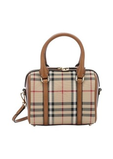 Burberry honey leather and horseferry check nylon 'Alchester' small bowling bag