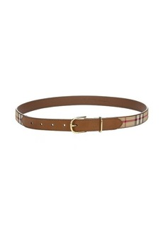 Burberry honey nova check canvas and brown leather belt