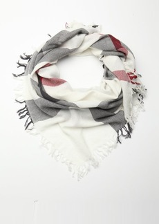 Burberry ivory check wool fringe scarf