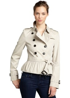 Burberry khaki cotton belted ruffle trimmed trench coat