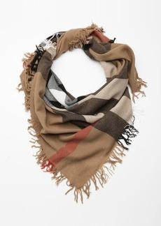 Burberry khaki house check wool fringe scarf